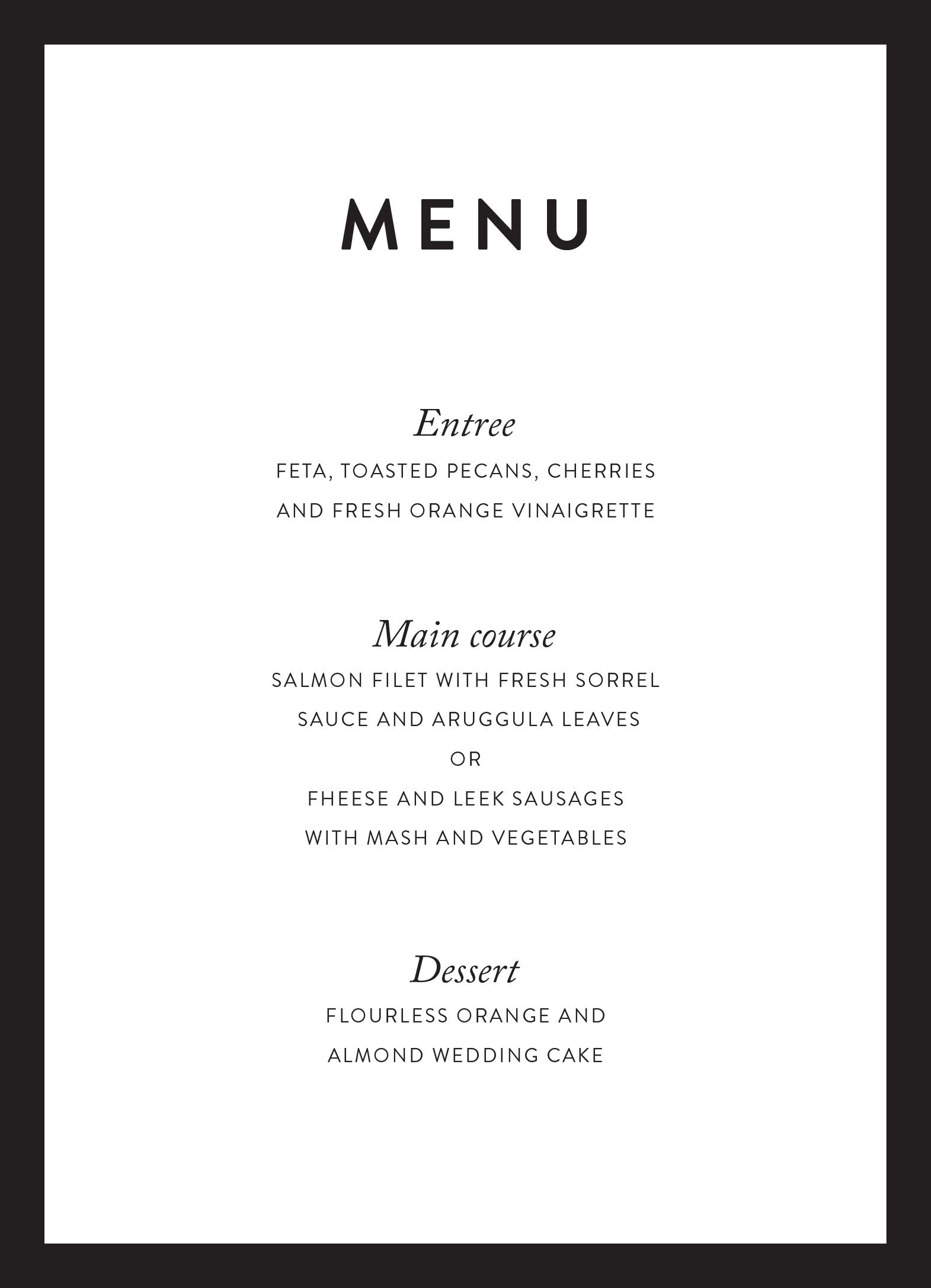 minimal real foil wedding menu