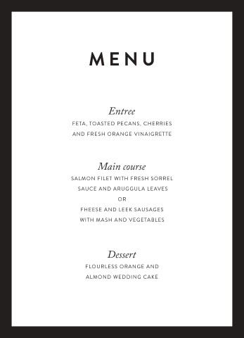 Minimal  Real Foil  Wedding Menu