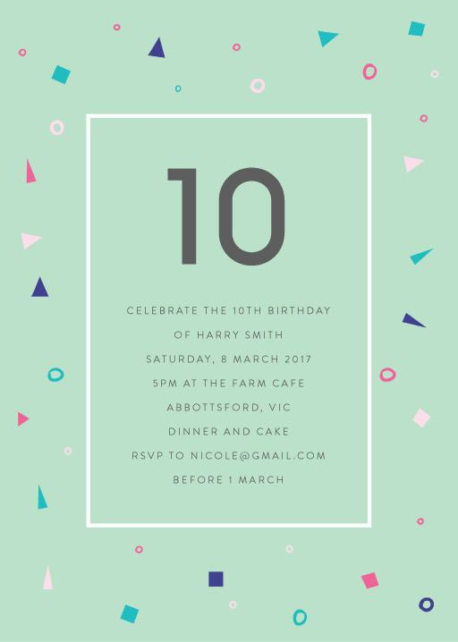 10th birthday invitations designs by creatives printed by paperlust