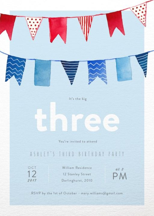 Bunting - Birthday Invitations