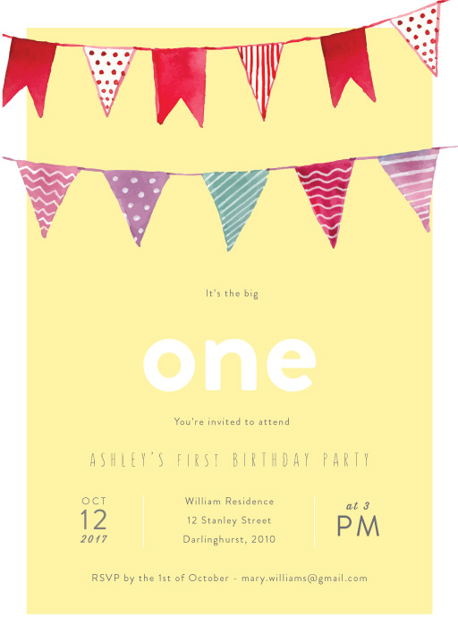 Bunting - Carnival Birthday Invitation