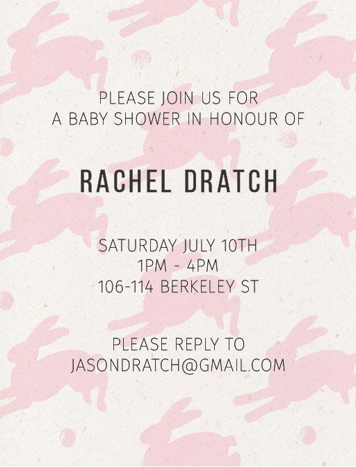 Rabbit - Baby Shower Invitations