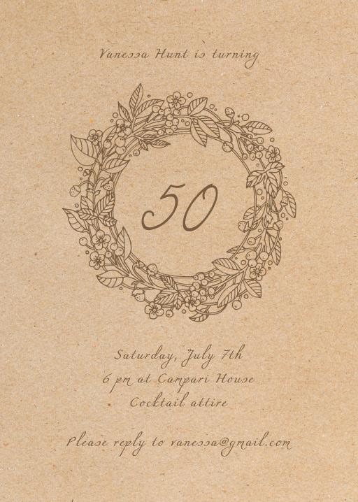 Rustic Wreath - Birthday Invitations