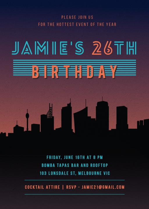 Ozzie Vice City - Birthday Invitations