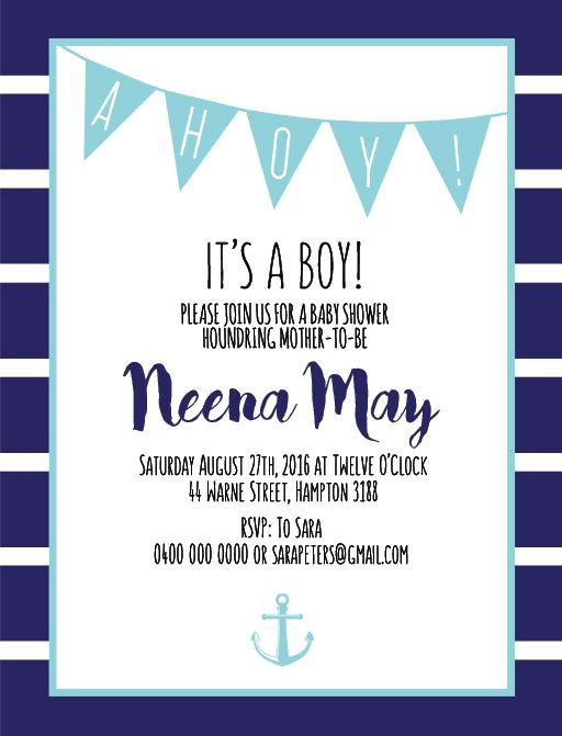 Ahoy! It's a Boy - Baby Shower Invitations
