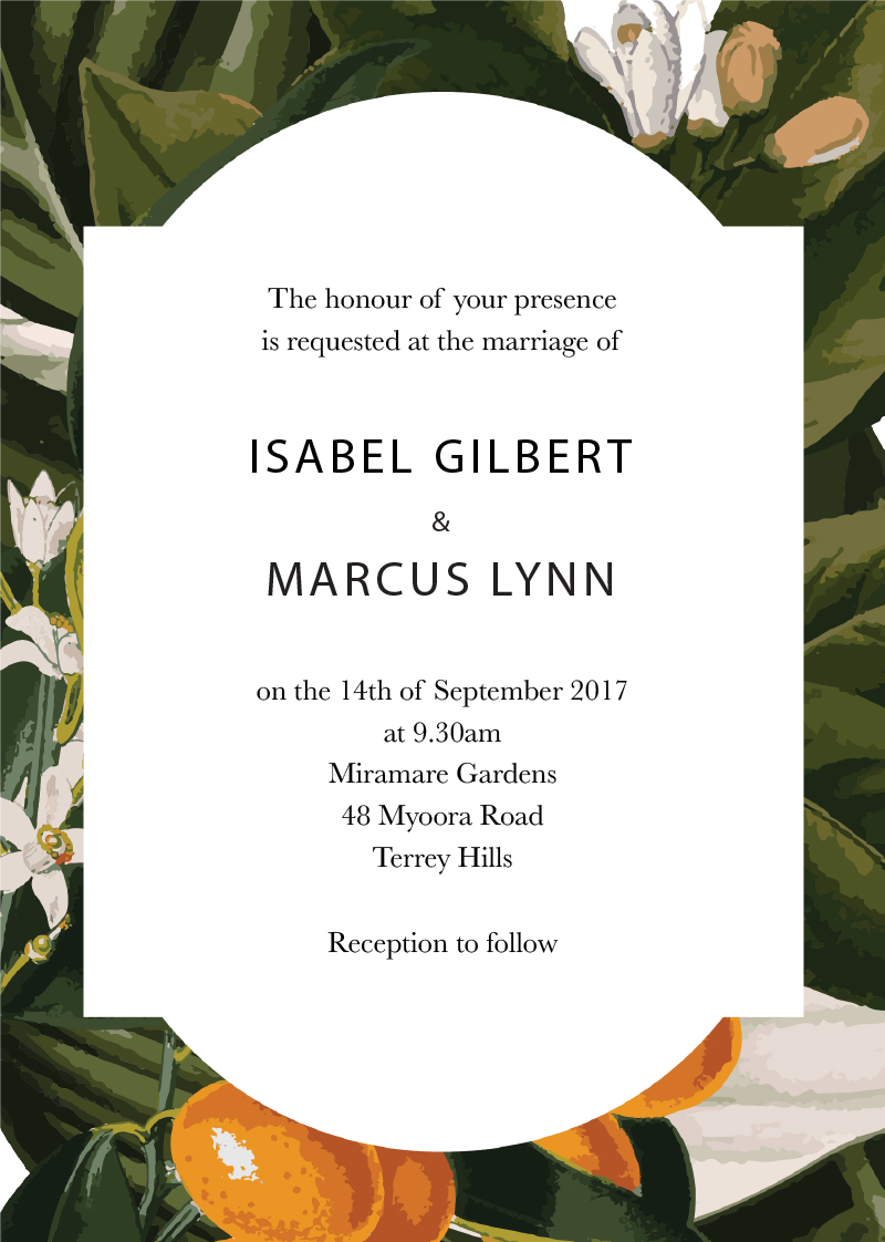 kumquat tropical dp wedding invitations