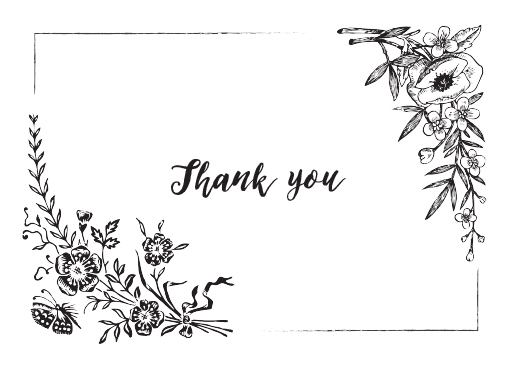 Floral Chalkboard - Thank You Cards
