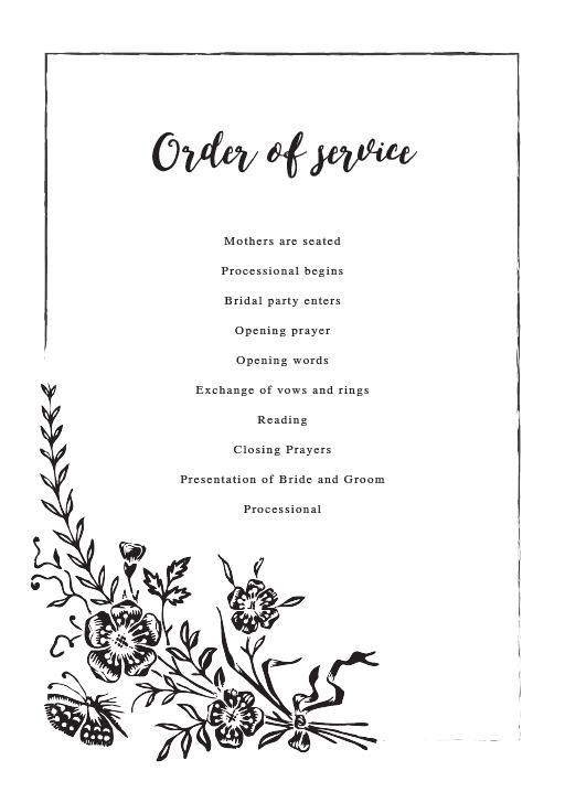 Floral Chalkboard - Order of Service