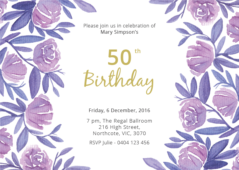 floral 50th birthday | dp | birthday invitations, Birthday invitations