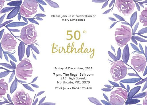 Floral 50th birthday dp birthday invitations 4152 filmwisefo Choice Image