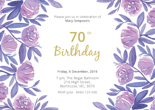 70th birthday invitations designs by creatives printed by paperlust