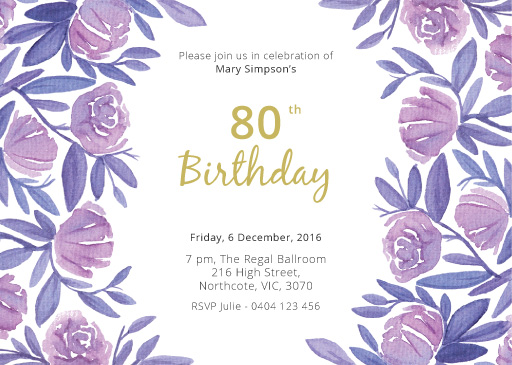 Floral 50th Birthday - Birthday Invitations