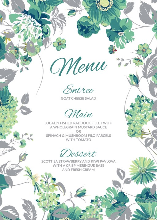 Florale - Menu Card