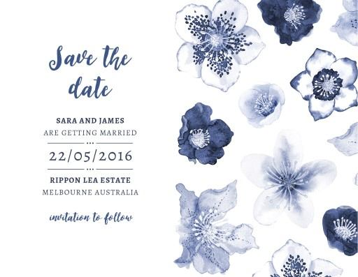 Blue Floral - save the date