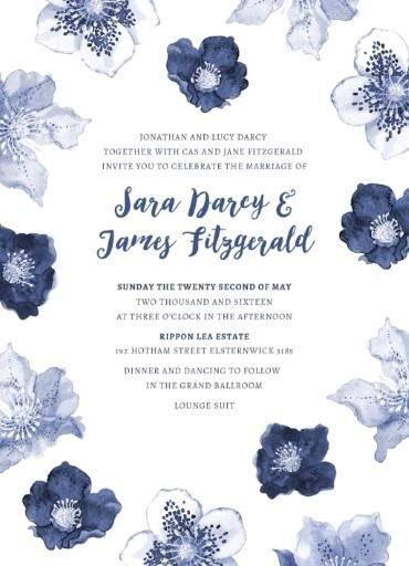 Blue Floral - Invitation