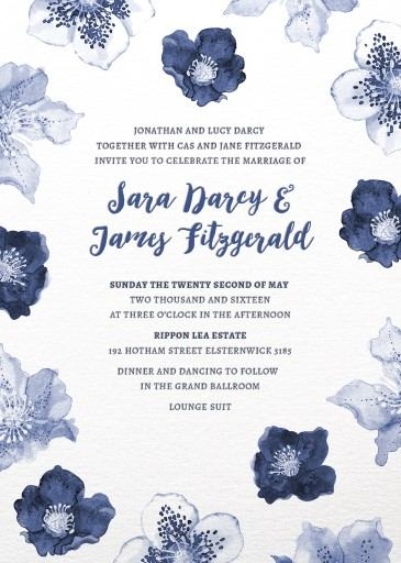 Blue Floral - Invitation