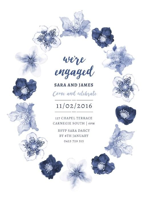 Blue Floral - Engagement