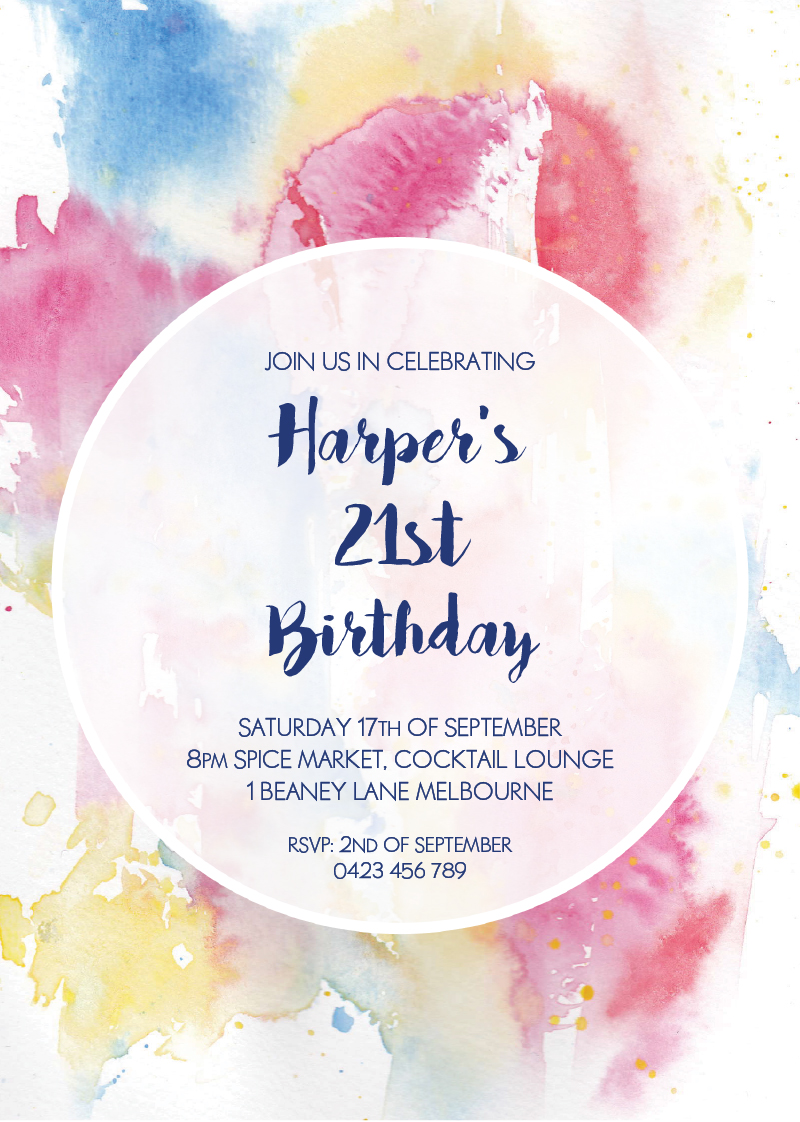 Watercolour 21st Birthda... | DP | Birthday Invitations