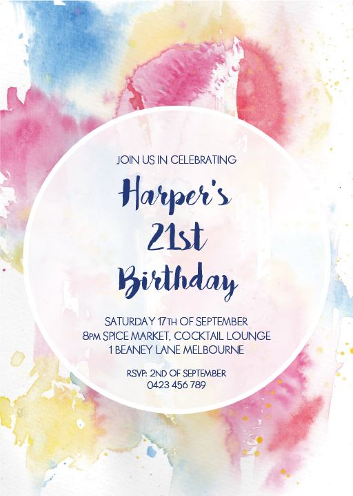 Watercolour 21st Birthday Invitation