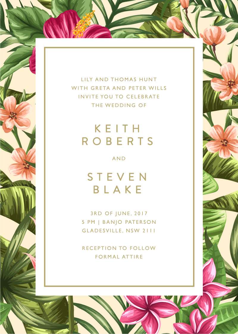sweet tropical metallic wedding invitations