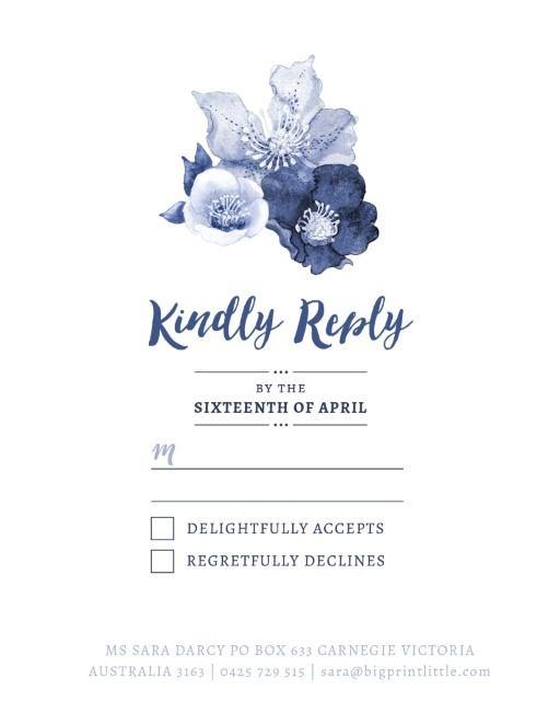Blue Floral - RSVP Cards