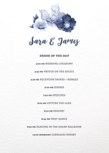 Blue Floral - Information Cards