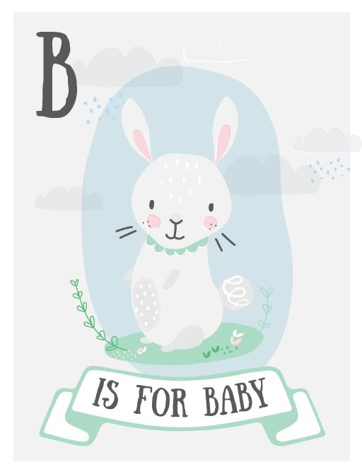 B is for Baby with Bunny - Baby Shower Invitations