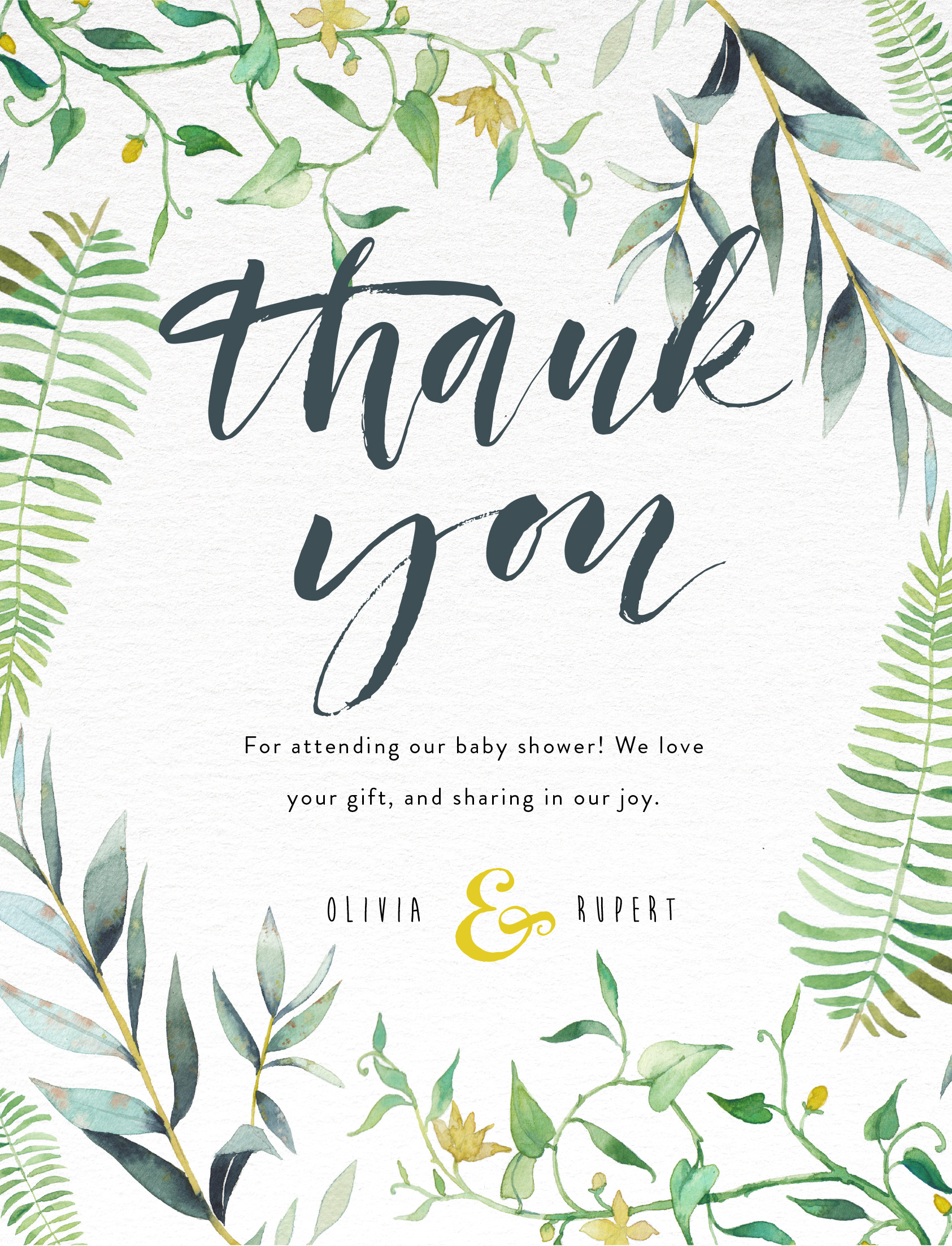 Floral thank you - baby shower thank you cards