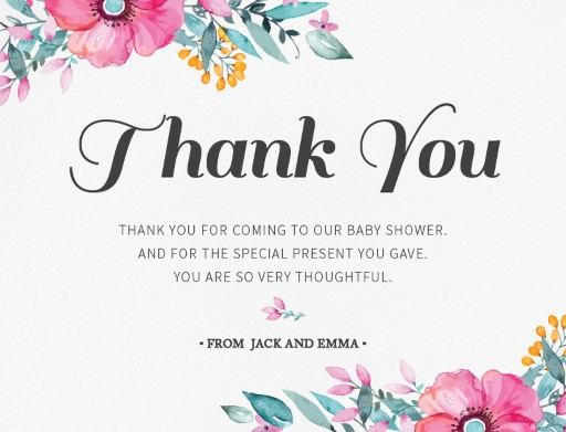 unsere blueme baby shower thank you cards