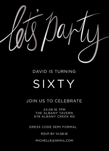 60th birthday invitations designs by creatives printed by paperlust lets party silver foil birthday invitations filmwisefo