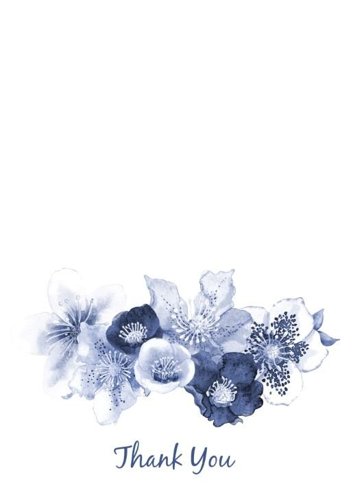 Blue Floral  - Thank You Card