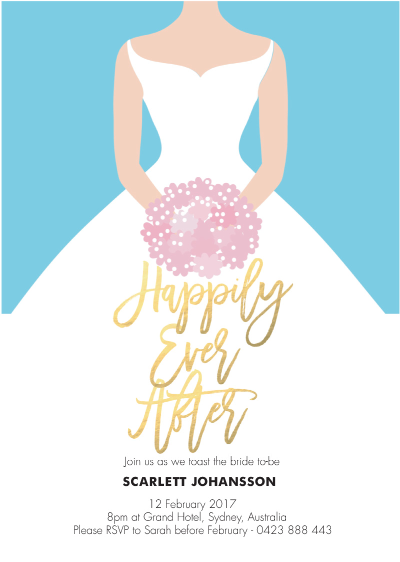 62fa02a0e99 Happily Ever After - Bridal Shower Invitations. arrow left. front