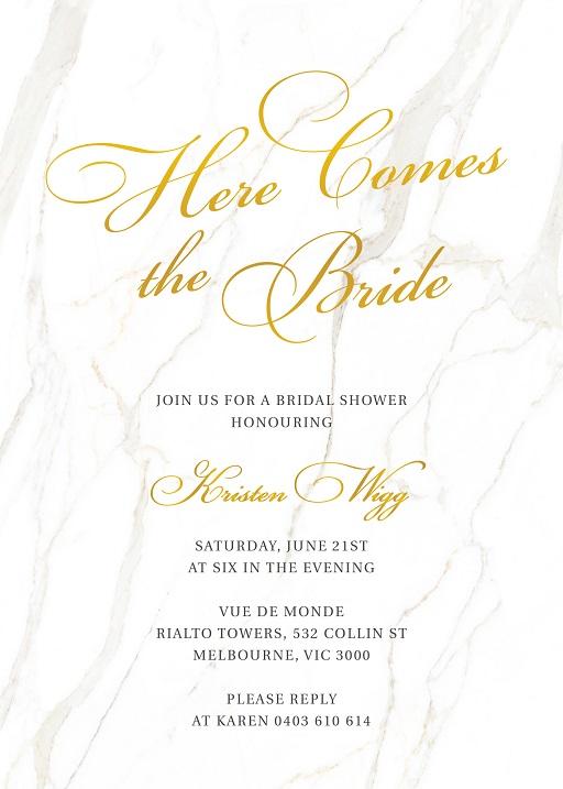 Here Comes the Bride - Bridal Shower Invitations