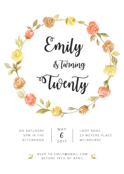Pretty Birthday Invitation Cards Party