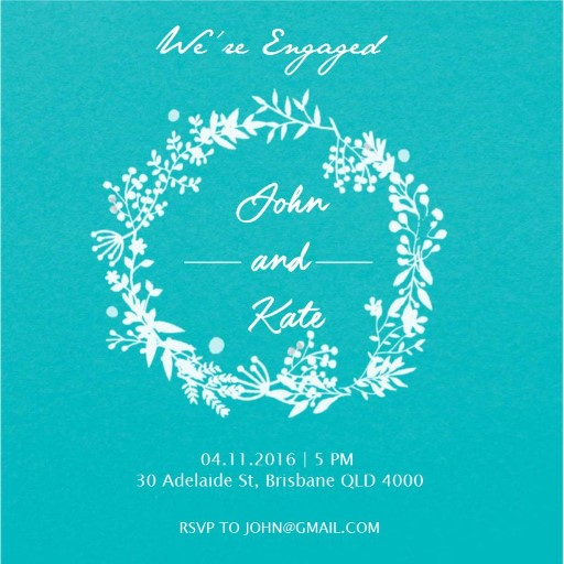 Blue Green Leaves wreath - Invitations