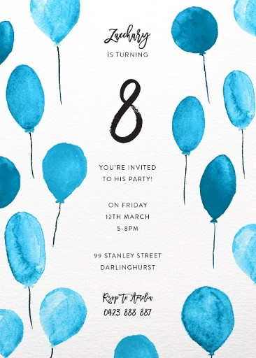 Birthday Balloons - Birthday Invitations