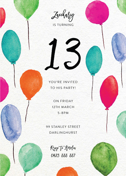 Birthday Balloons - Birthday Invitations