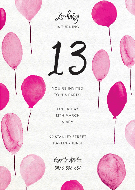 13th Birthday Invitations Designs By Creatives Printed By Paperlust