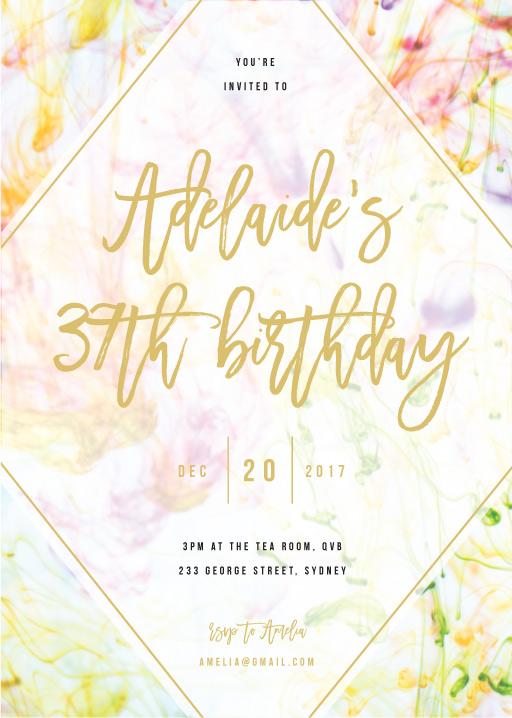 Pastel Ink - Birthday Invitations