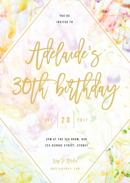 Pastel Ink - Birthday Invitations