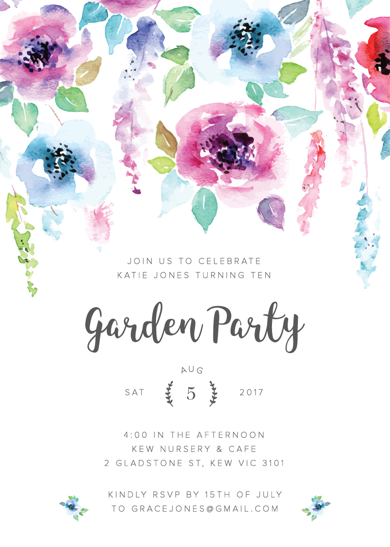 garden party digital printing birthday invitations