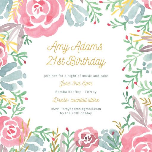 garden at night raised foil birthday invitations