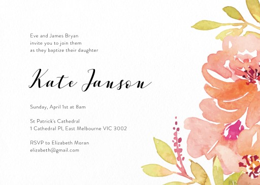 Flower Crown - Christening Invitations