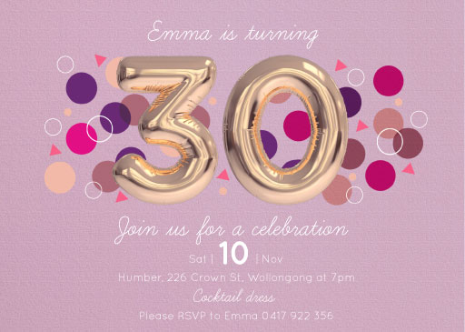 30th Birthday Invitations Designs By Creatives Printed By Paperlust