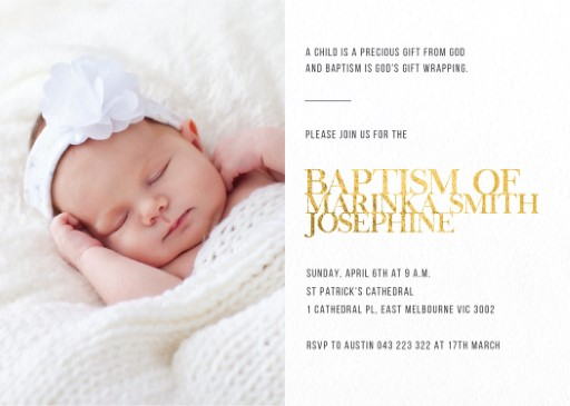 the minimalist real foil christening invitations