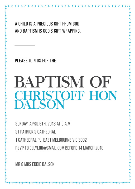 Clean Baptism - Christening Invitations