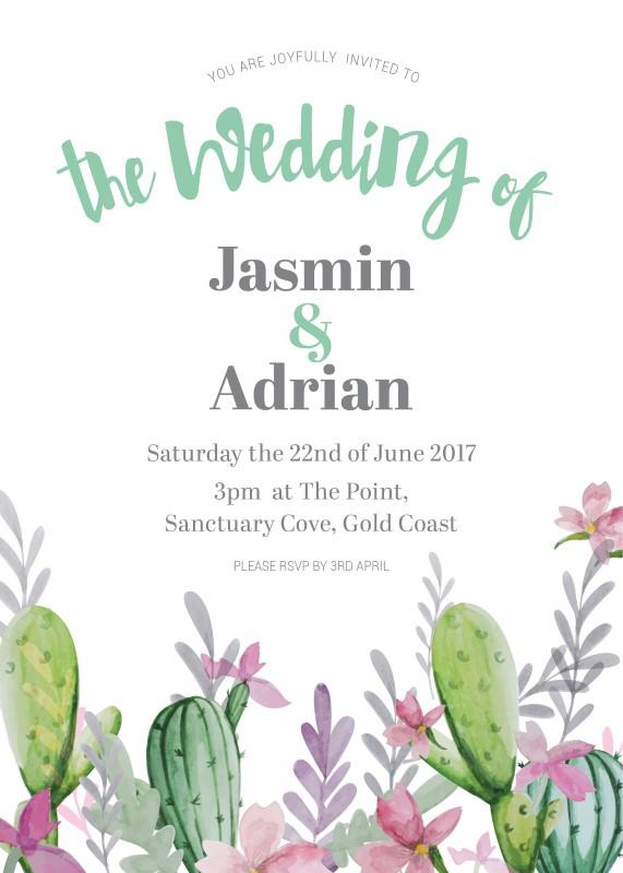 cactus garden digital printing wedding invitations