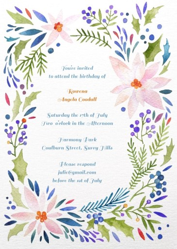 Colourful floral - Birthday Invitations