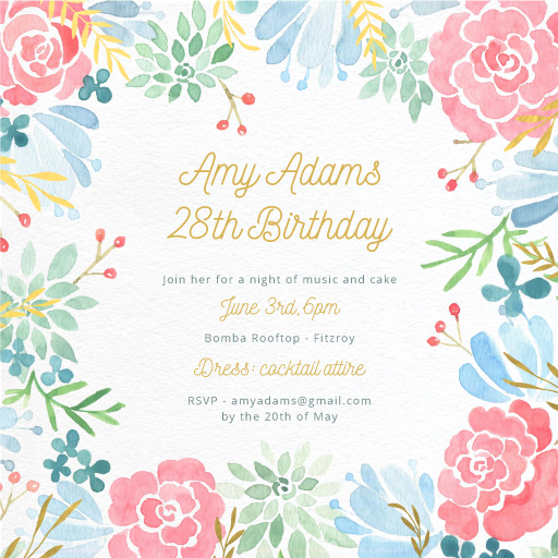 Garden at Night - Birthday Invitations