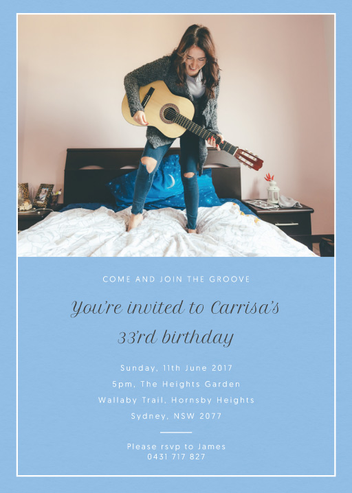 Carrisa and the Groove - Birthday Invitations